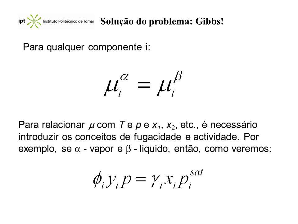 Solução do problema: Gibbs! Para qualquer componente i: Para relacionar com T e p e x 1, x 2, etc., é necessário introduzir os conceitos de fugacidade