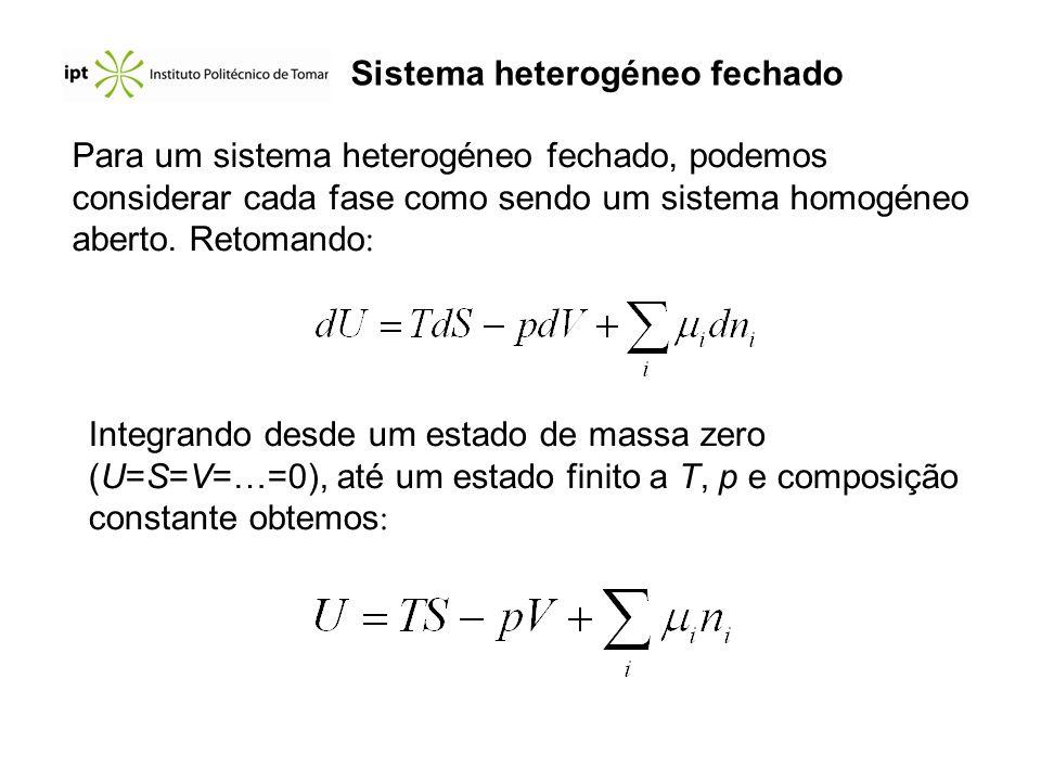 Sistema heterogéneo fechado Para um sistema heterogéneo fechado, podemos considerar cada fase como sendo um sistema homogéneo aberto. Retomando : Inte