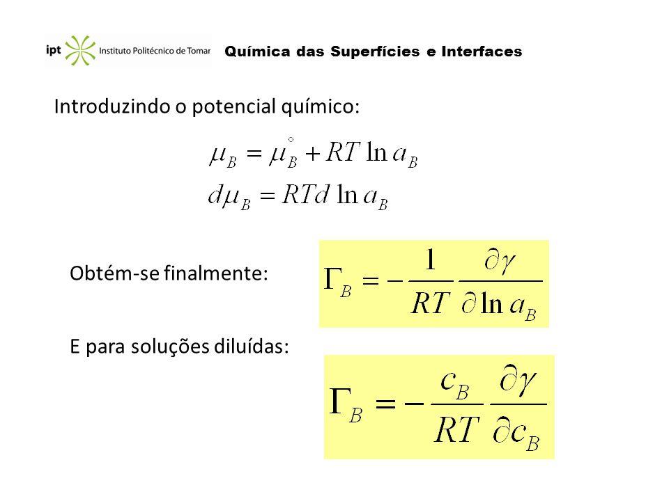 Química das Superfícies e Interfaces Introduzindo o potencial químico: Obtém-se finalmente: E para soluções diluídas: