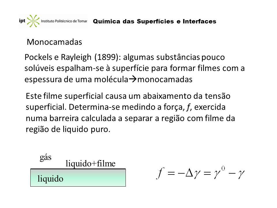 Química das Superfícies e Interfaces Monocamadas Pockels e Rayleigh (1899): algumas substâncias pouco solúveis espalham-se à superfície para formar fi