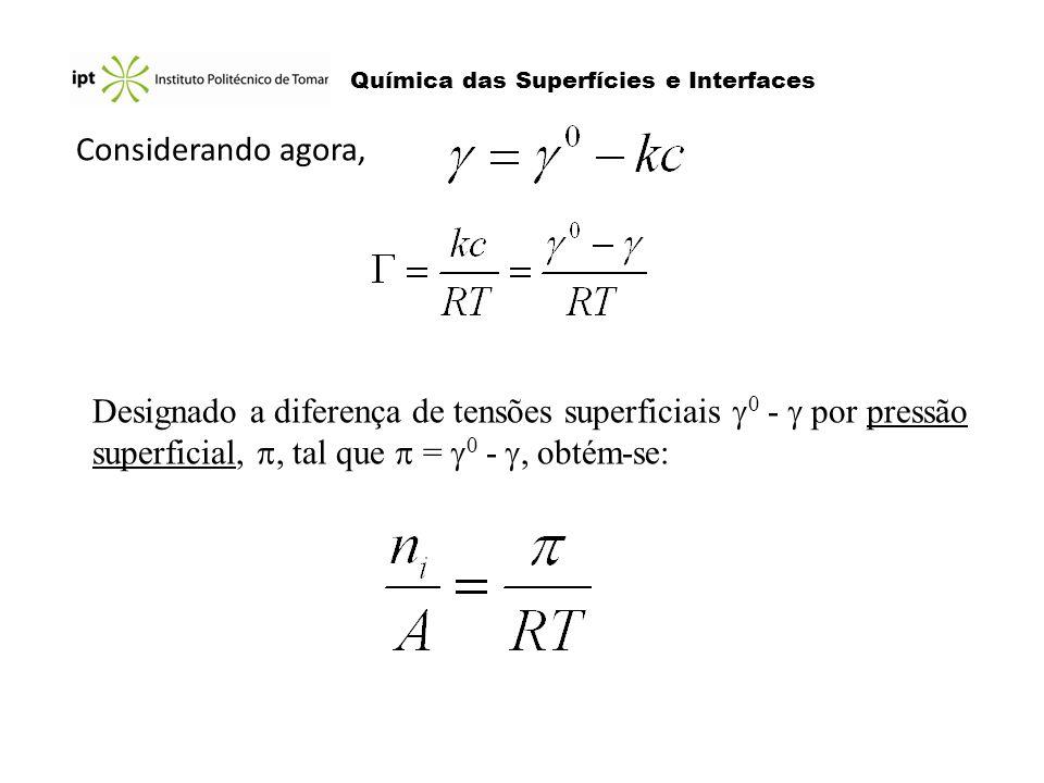 Química das Superfícies e Interfaces Considerando agora, Designado a diferença de tensões superficiais 0 - por pressão superficial,, tal que = 0 -, ob