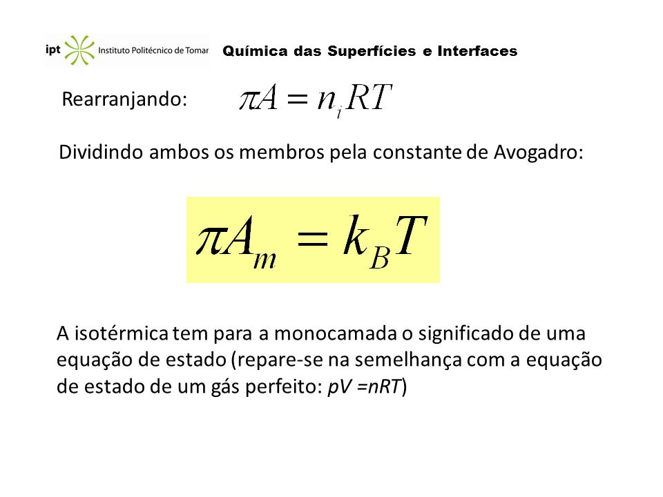 Química das Superfícies e Interfaces Rearranjando: Dividindo ambos os membros pela constante de Avogadro: A isotérmica tem para a monocamada o signifi