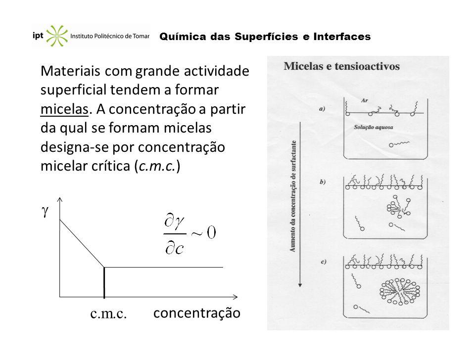 Materiais com grande actividade superficial tendem a formar micelas. A concentração a partir da qual se formam micelas designa-se por concentração mic