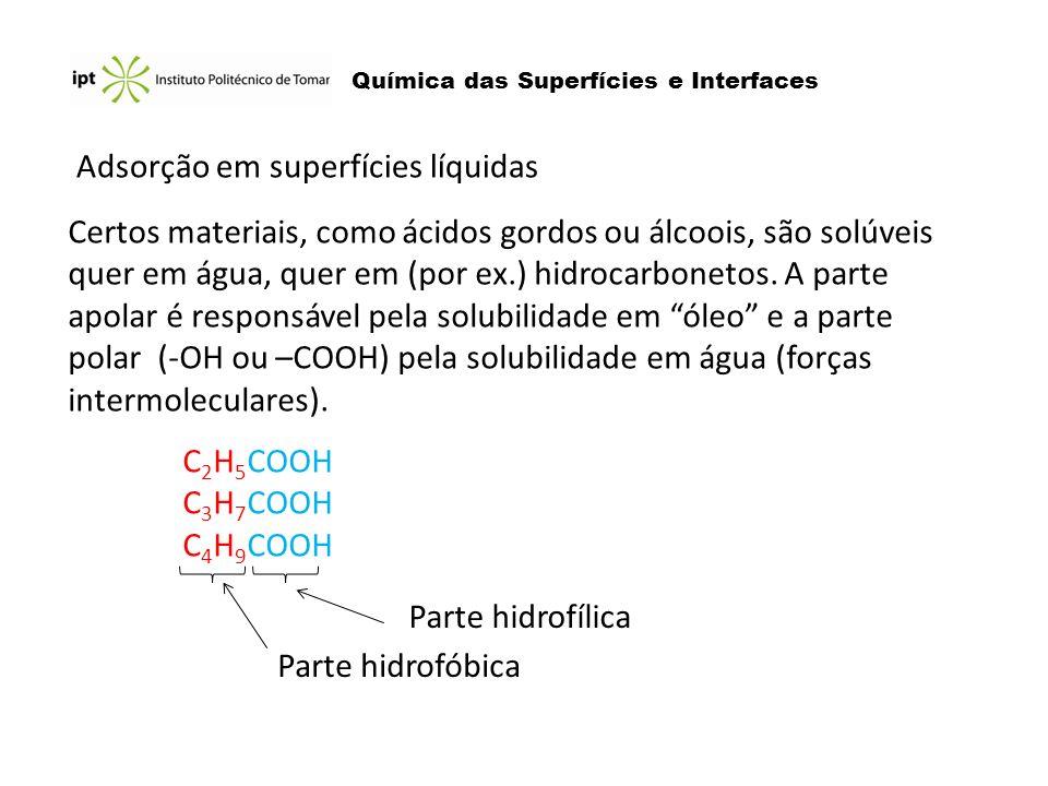 Química das Superfícies e Interfaces Adsorção em superfícies líquidas Certos materiais, como ácidos gordos ou álcoois, são solúveis quer em água, quer