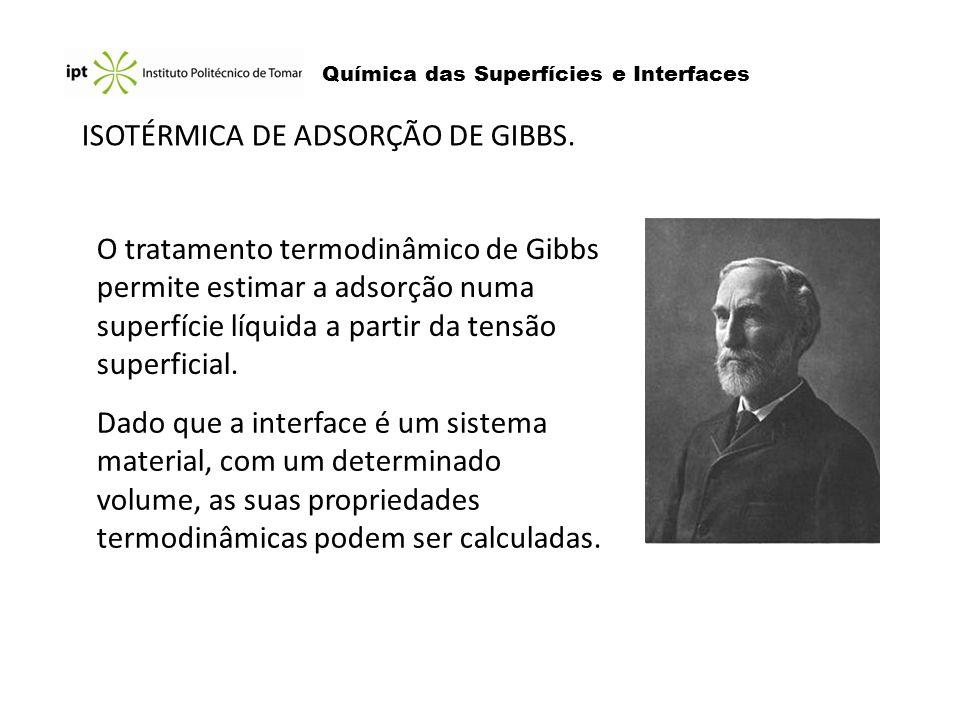 Química das Superfícies e Interfaces ISOTÉRMICA DE ADSORÇÃO DE GIBBS. O tratamento termodinâmico de Gibbs permite estimar a adsorção numa superfície l