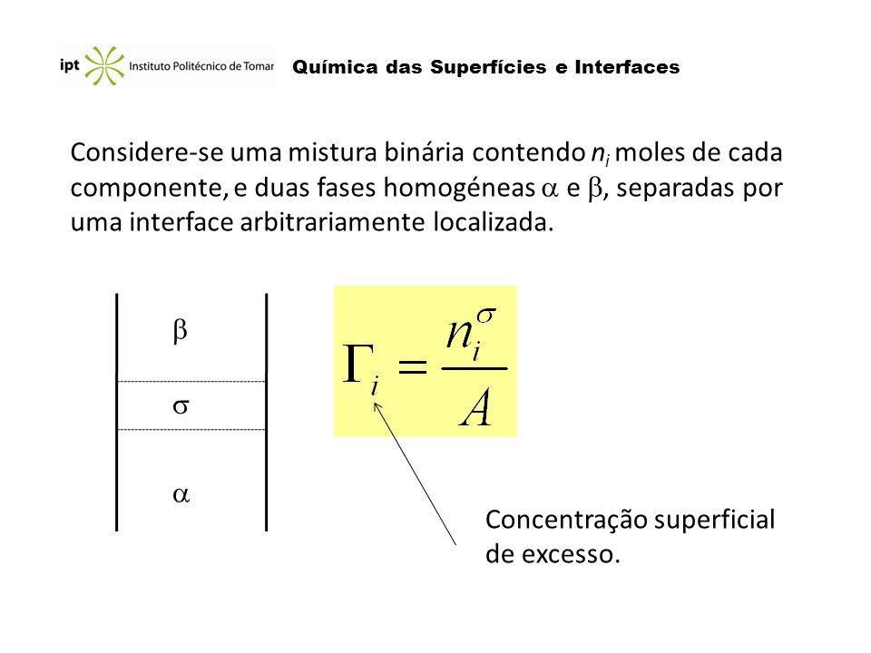 Química das Superfícies e Interfaces Considere-se uma mistura binária contendo n i moles de cada componente, e duas fases homogéneas e, separadas por