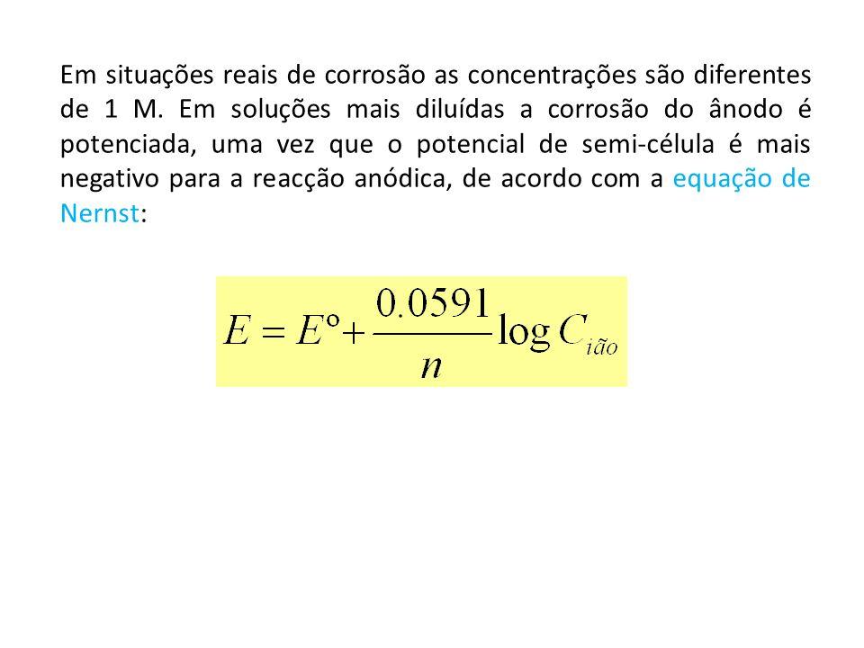 Em situações reais de corrosão as concentrações são diferentes de 1 M. Em soluções mais diluídas a corrosão do ânodo é potenciada, uma vez que o poten