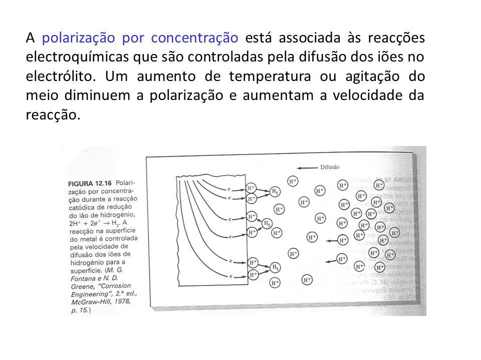 A polarização por concentração está associada às reacções electroquímicas que são controladas pela difusão dos iões no electrólito. Um aumento de temp