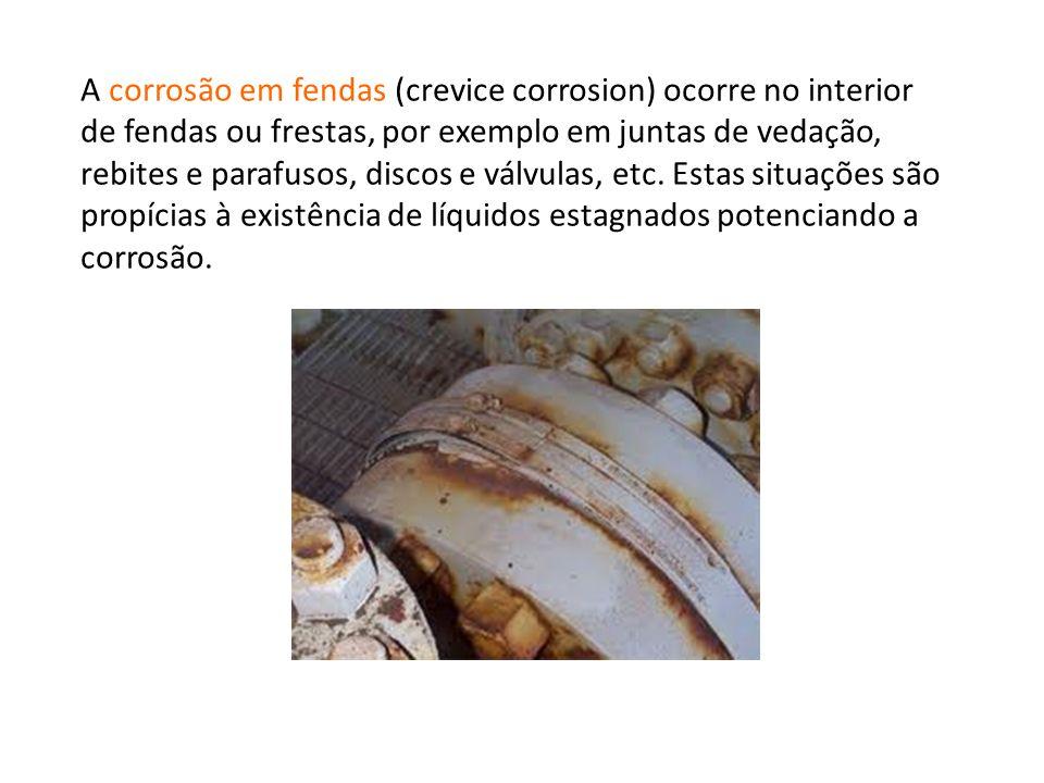 A corrosão em fendas (crevice corrosion) ocorre no interior de fendas ou frestas, por exemplo em juntas de vedação, rebites e parafusos, discos e válv