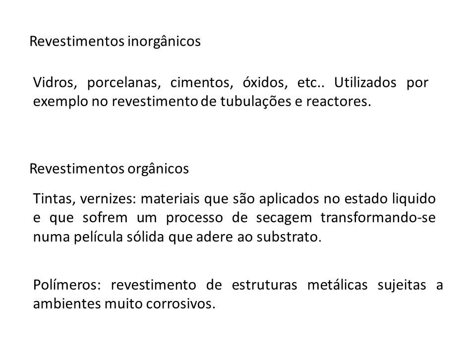 Revestimentos inorgânicos Revestimentos orgânicos Tintas, vernizes: materiais que são aplicados no estado liquido e que sofrem um processo de secagem