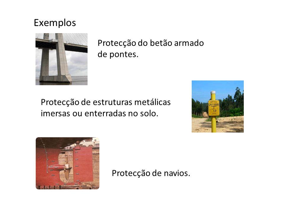 Exemplos Protecção do betão armado de pontes. Protecção de estruturas metálicas imersas ou enterradas no solo. Protecção de navios.