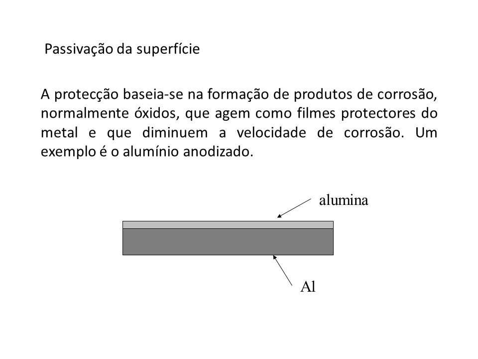 Passivação da superfície A protecção baseia-se na formação de produtos de corrosão, normalmente óxidos, que agem como filmes protectores do metal e qu