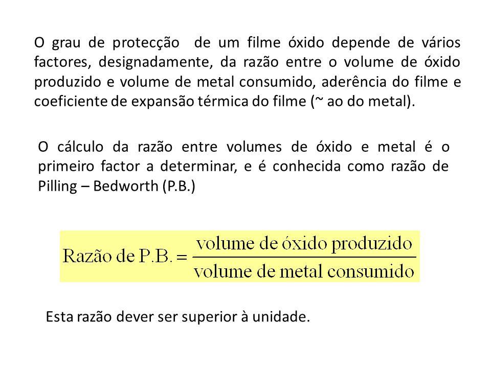 O grau de protecção de um filme óxido depende de vários factores, designadamente, da razão entre o volume de óxido produzido e volume de metal consumi