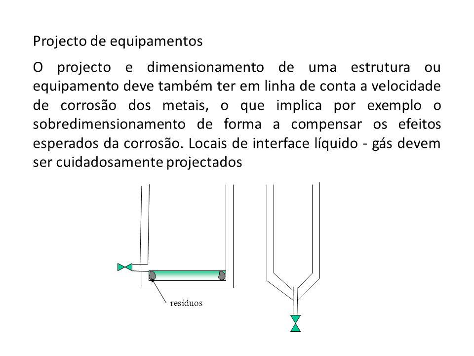 Projecto de equipamentos O projecto e dimensionamento de uma estrutura ou equipamento deve também ter em linha de conta a velocidade de corrosão dos m