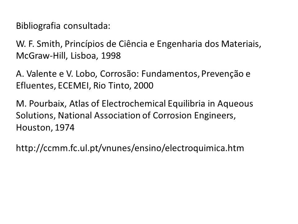 Bibliografia consultada: W. F. Smith, Princípios de Ciência e Engenharia dos Materiais, McGraw-Hill, Lisboa, 1998 A. Valente e V. Lobo, Corrosão: Fund