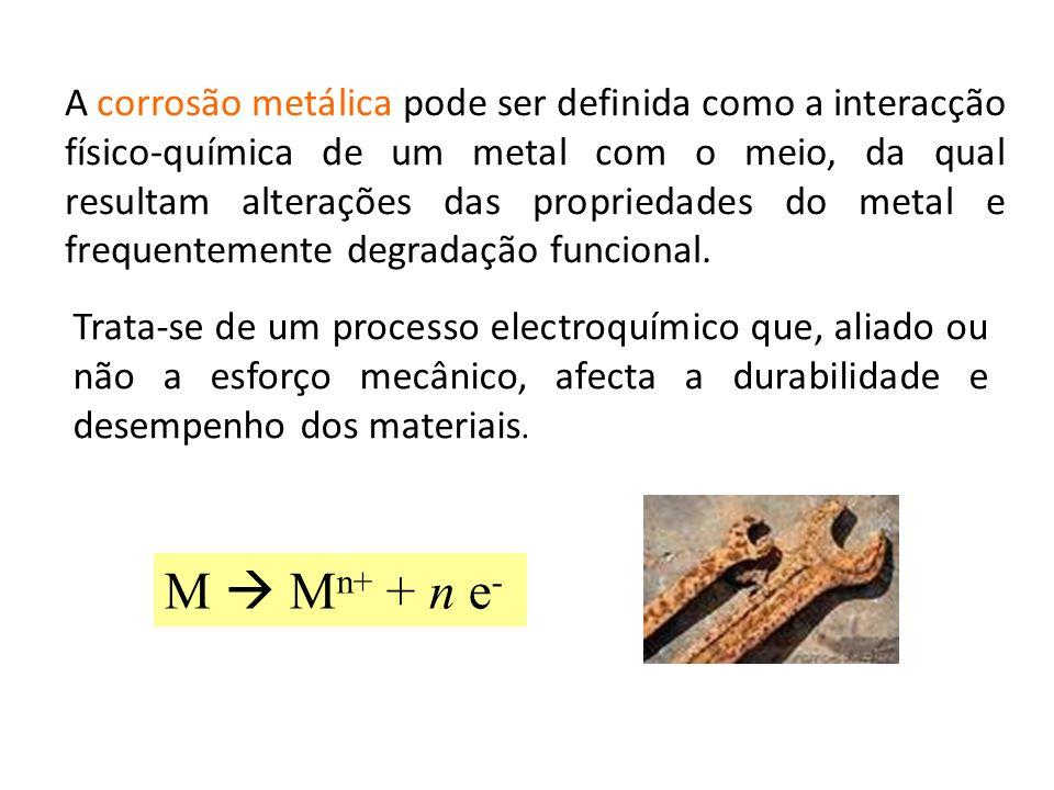 A corrosão metálica pode ser definida como a interacção físico-química de um metal com o meio, da qual resultam alterações das propriedades do metal e