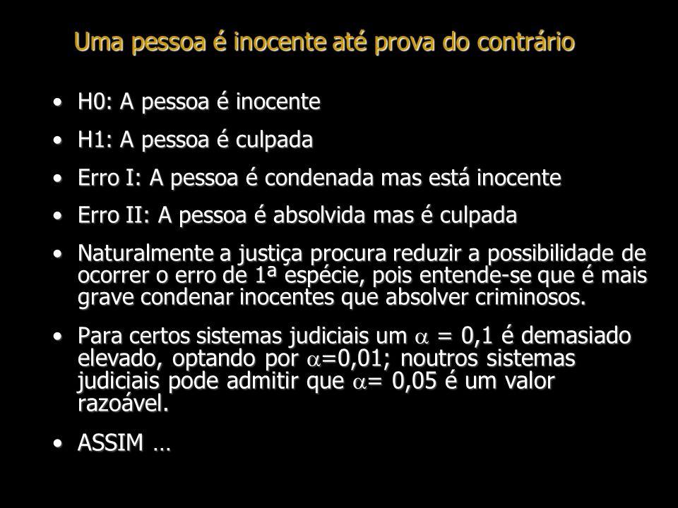 Uma pessoa é inocente até prova do contrário H0: A pessoa é inocenteH0: A pessoa é inocente H1: A pessoa é culpadaH1: A pessoa é culpada Erro I: A pes