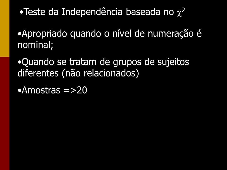 Teste da Independência baseada no 2 Apropriado quando o nível de numeração é nominal; Quando se tratam de grupos de sujeitos diferentes (não relaciona