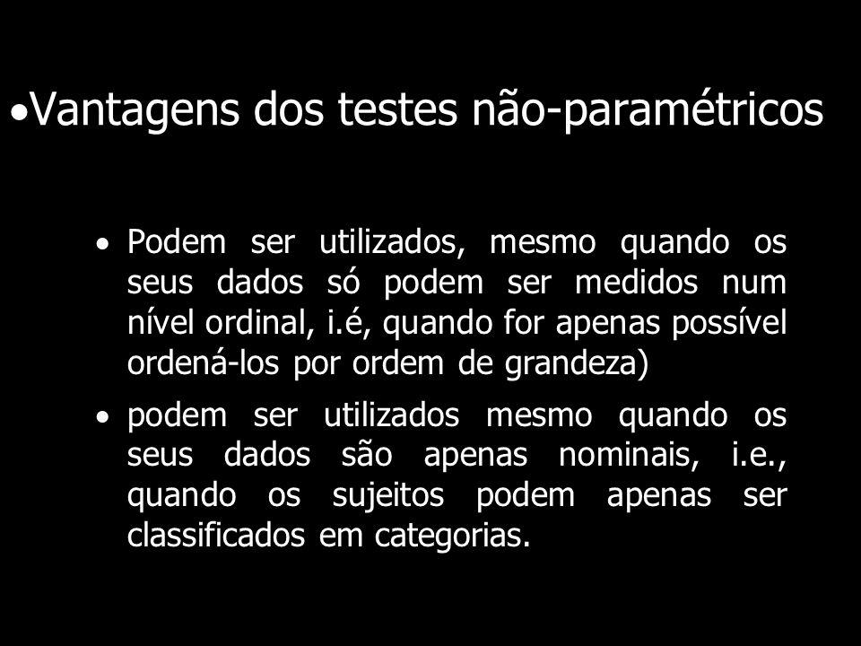 Vantagens dos testes não-paramétricos Podem ser utilizados, mesmo quando os seus dados só podem ser medidos num nível ordinal, i.é, quando for apenas