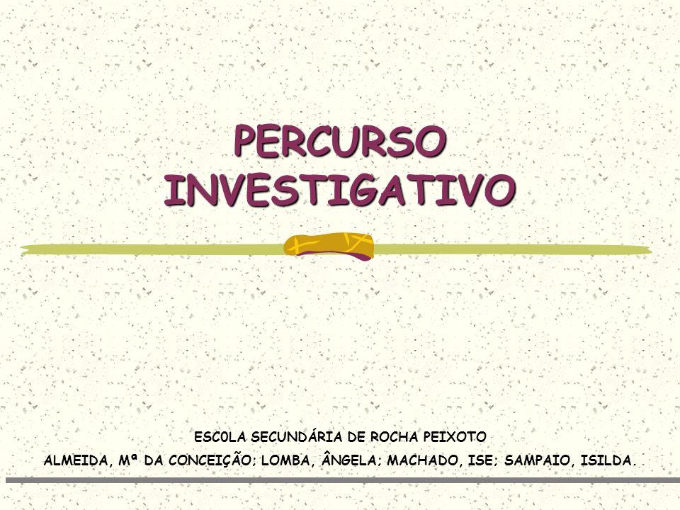 PERCURSO INVESTIGATIVO ESC0LA SECUNDÁRIA DE ROCHA PEIXOTO ALMEIDA, Mª DA CONCEIÇÃO; LOMBA, ÂNGELA; MACHADO, ISE; SAMPAIO, ISILDA.