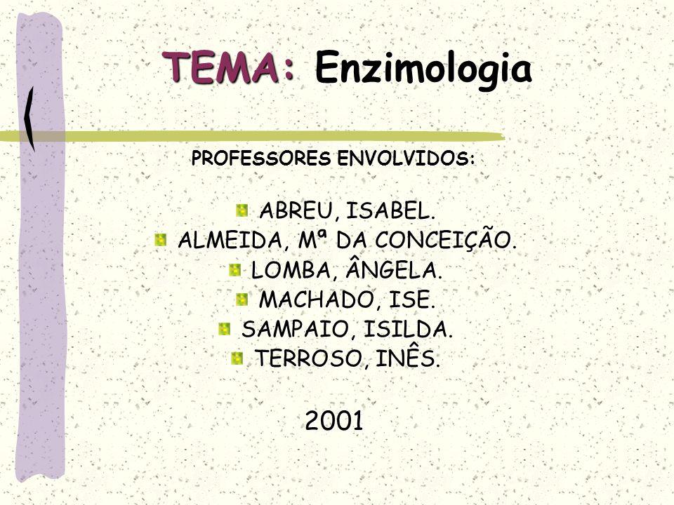 TEMA: Enzimologia PROFESSORES ENVOLVIDOS: ABREU, ISABEL.