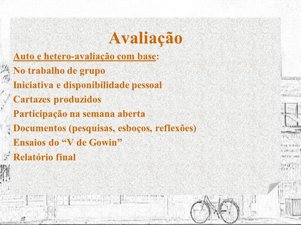 Avaliação Auto e hetero-avaliação com base: No trabalho de grupo Iniciativa e disponibilidade pessoal Cartazes produzidos Participação na semana abert
