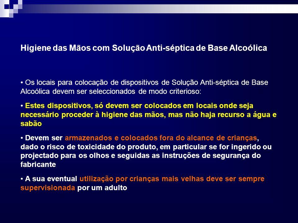 Os locais para colocação de dispositivos de Solução Anti-séptica de Base Alcoólica devem ser seleccionados de modo criterioso: Estes dispositivos, só