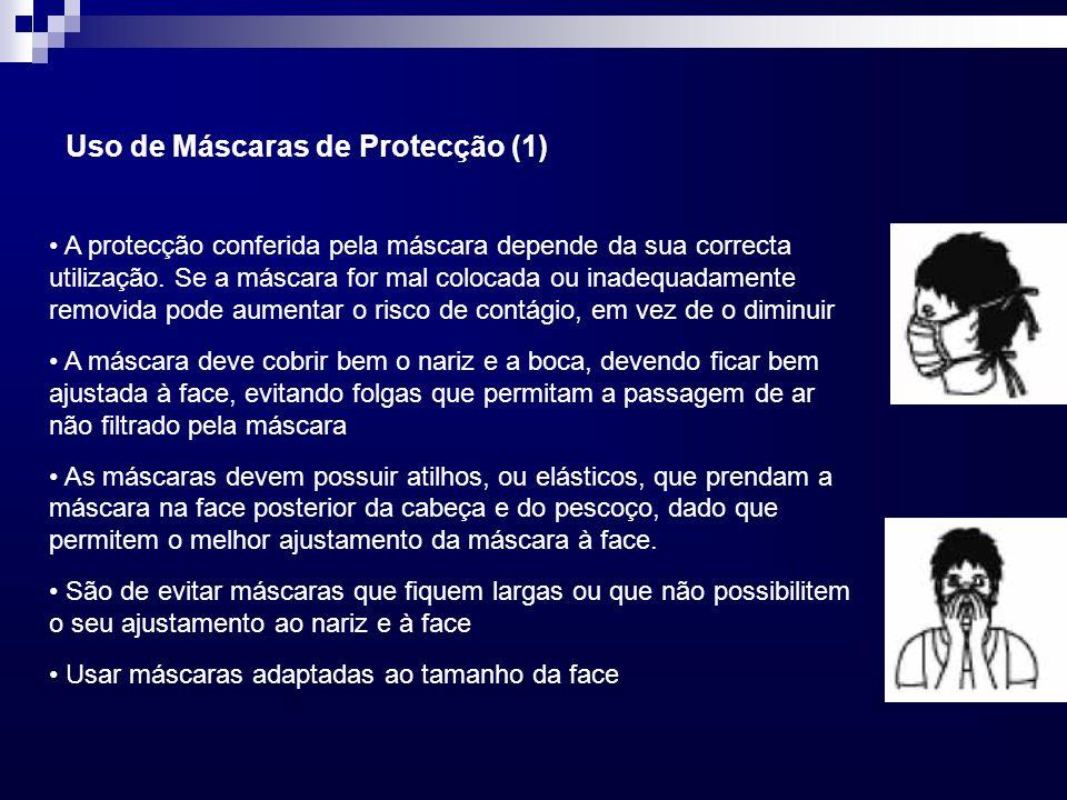 A protecção conferida pela máscara depende da sua correcta utilização. Se a máscara for mal colocada ou inadequadamente removida pode aumentar o risco