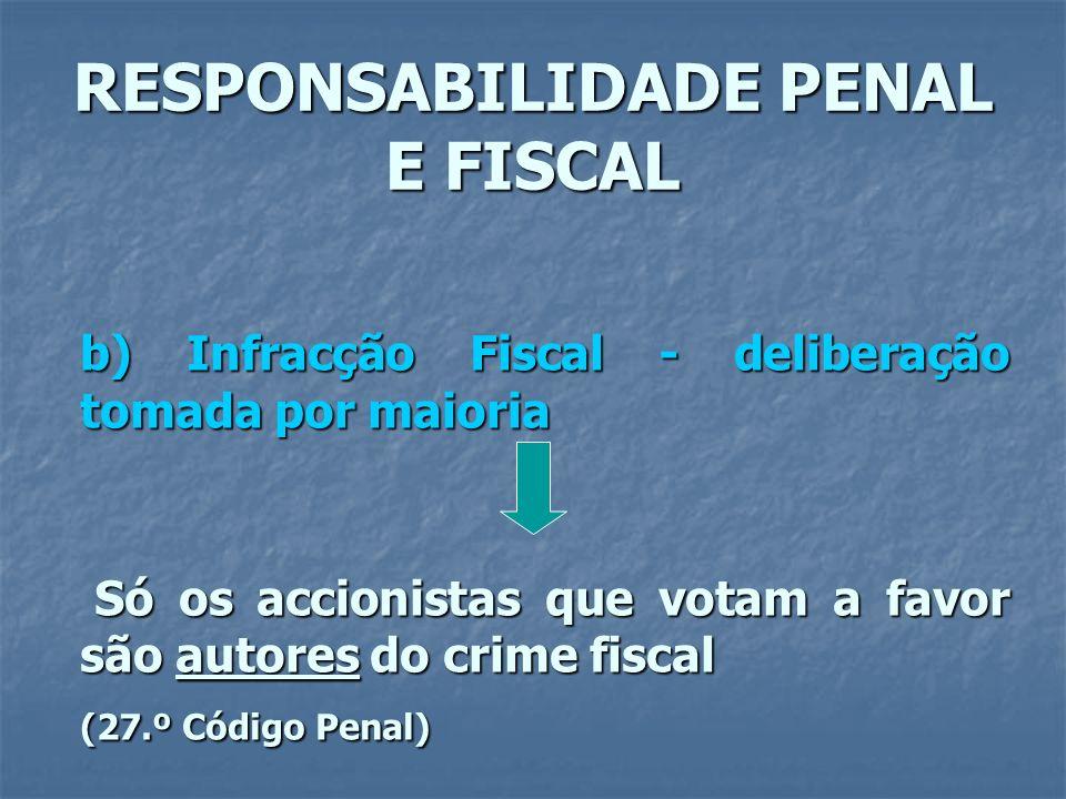 RESPONSABILIDADE PENAL E FISCAL b) Infracção Fiscal - deliberação tomada por maioria Só os accionistas que votam a favor são autores do crime fiscal S