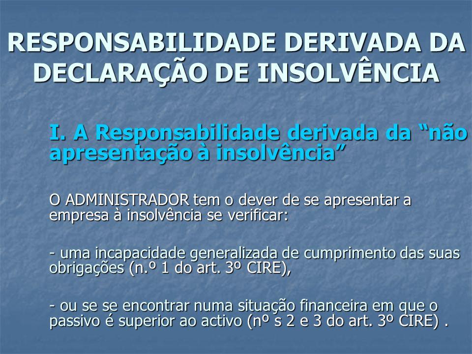 RESPONSABILIDADE DERIVADA DA DECLARAÇÃO DE INSOLVÊNCIA I. A Responsabilidade derivada da não apresentação à insolvência O ADMINISTRADOR tem o dever de