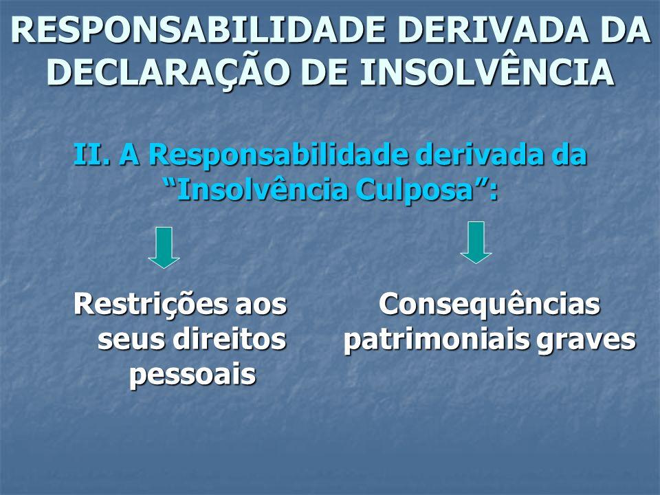 RESPONSABILIDADE DERIVADA DA DECLARAÇÃO DE INSOLVÊNCIA II. A Responsabilidade derivada da Insolvência Culposa: Restrições aos seus direitos pessoais C