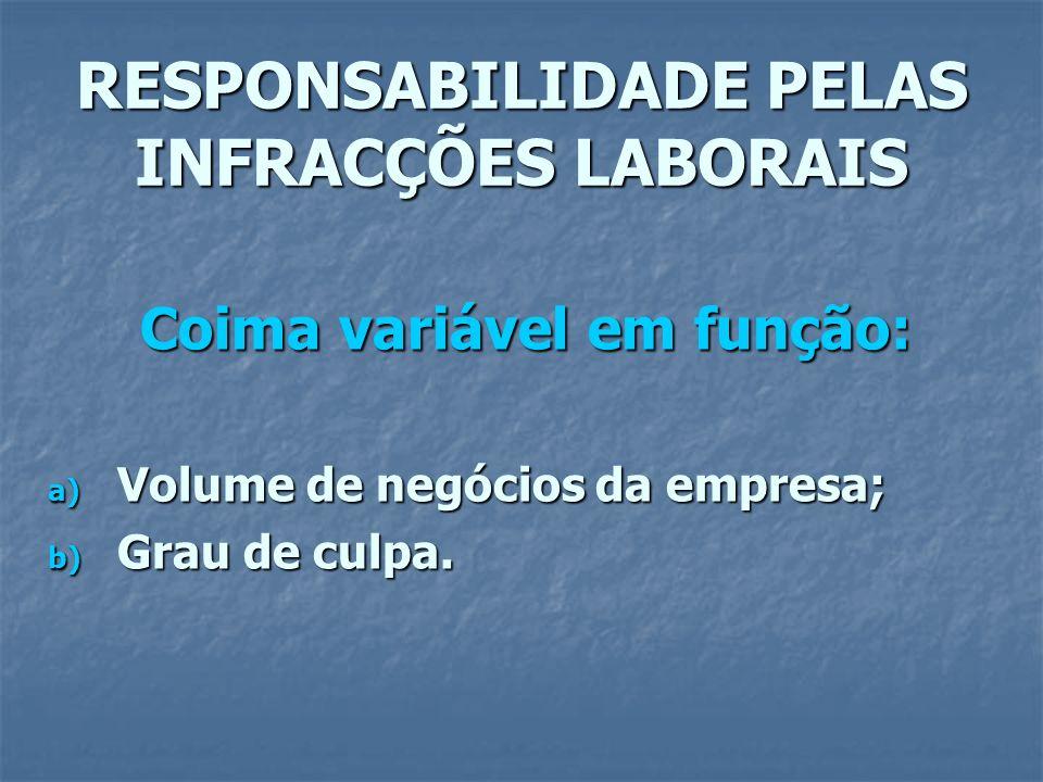 RESPONSABILIDADE PELAS INFRACÇÕES LABORAIS Coima variável em função: a) Volume de negócios da empresa; b) Grau de culpa.