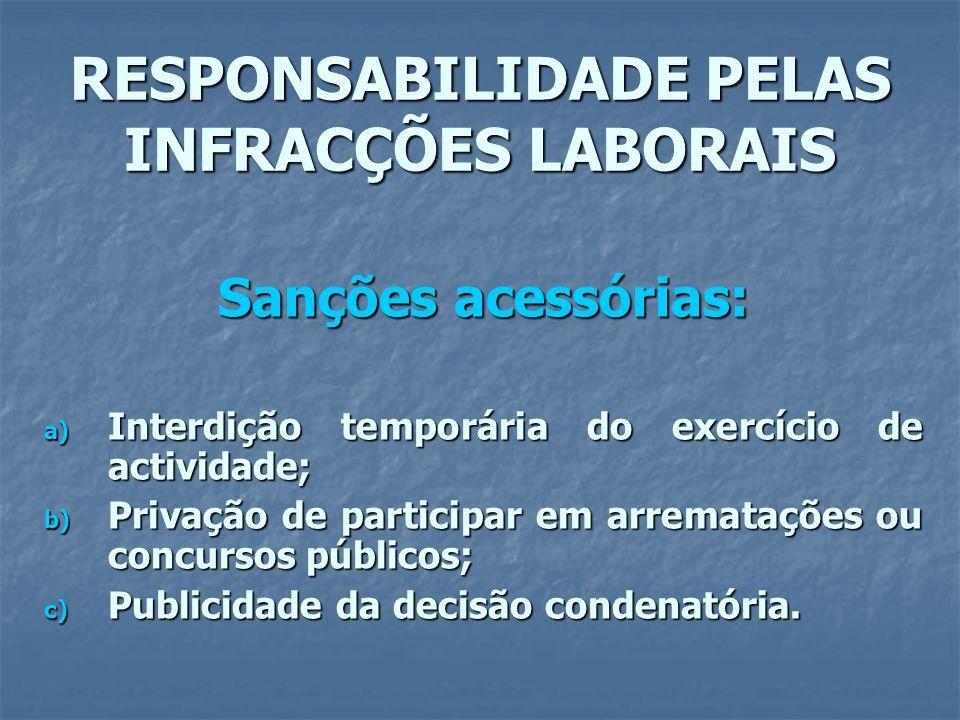 RESPONSABILIDADE PELAS INFRACÇÕES LABORAIS Sanções acessórias: a) Interdição temporária do exercício de actividade; b) Privação de participar em arrem
