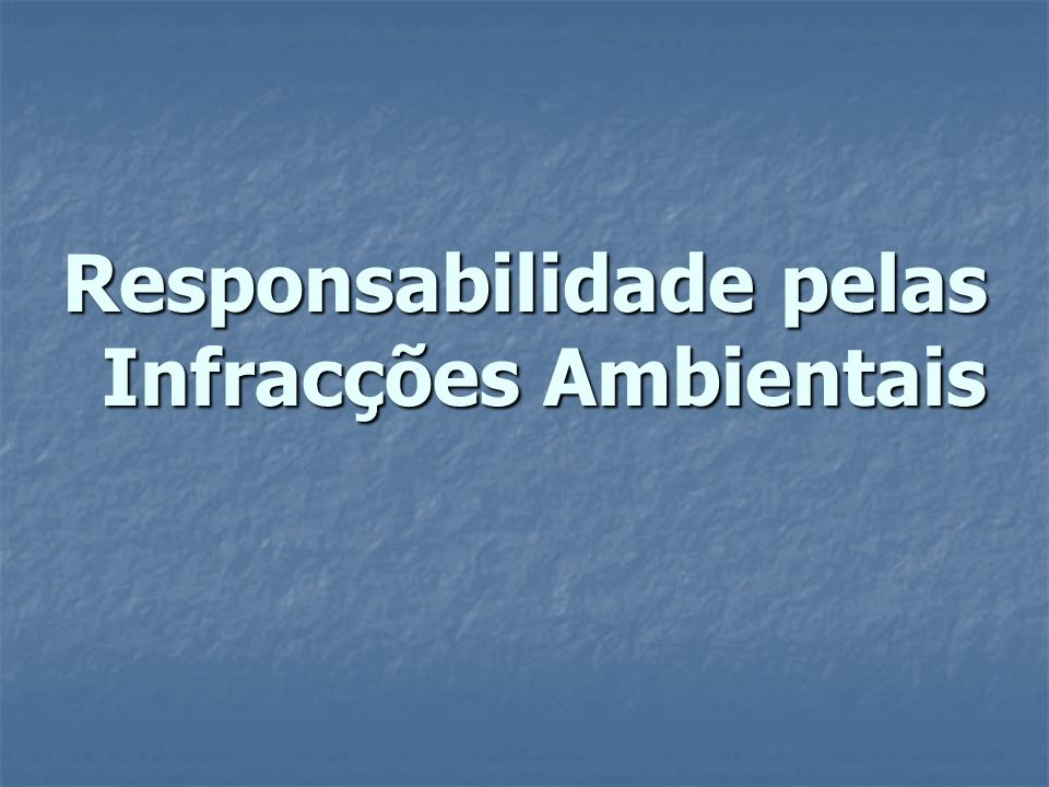 Responsabilidade pelas Infracções Ambientais