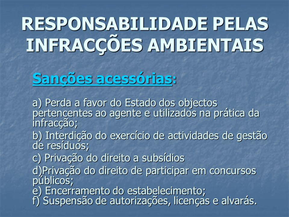 RESPONSABILIDADE PELAS INFRACÇÕES AMBIENTAIS Sanções acessórias : a) Perda a favor do Estado dos objectos pertencentes ao agente e utilizados na práti