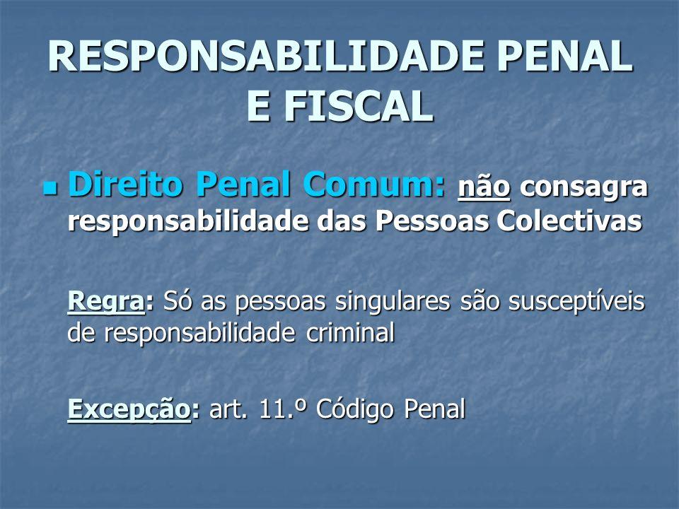 RESPONSABILIDADE PENAL E FISCAL Direito Penal Comum: não consagra responsabilidade das Pessoas Colectivas Direito Penal Comum: não consagra responsabi