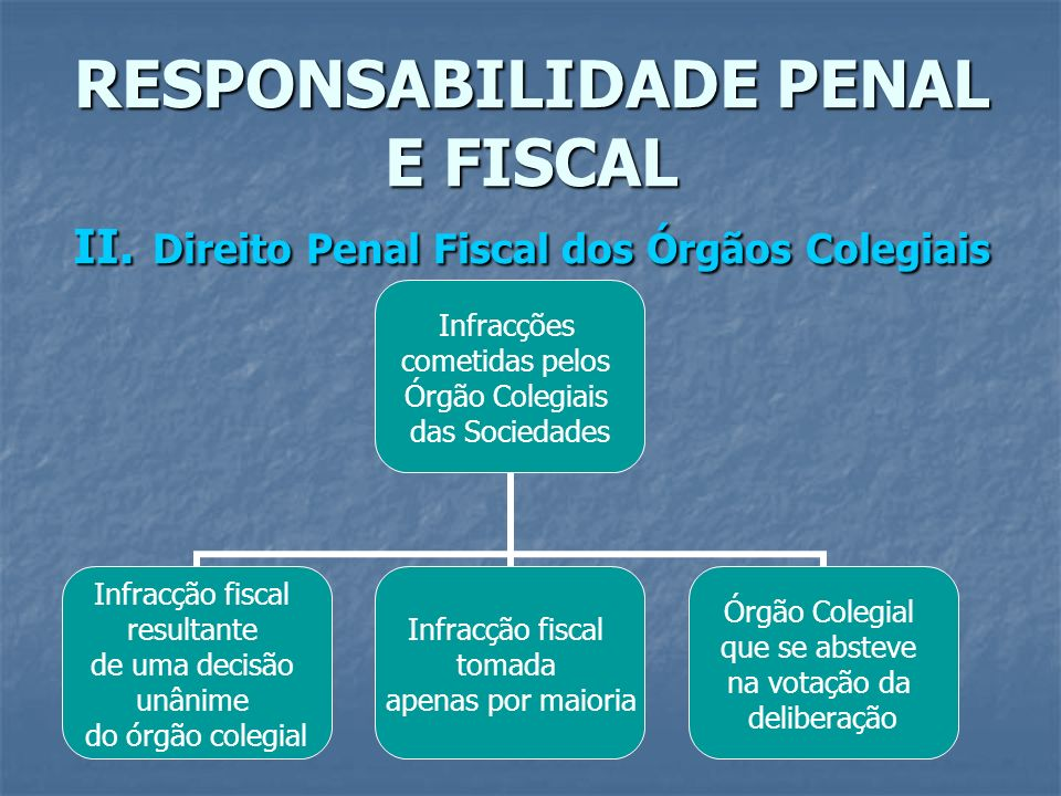 RESPONSABILIDADE PENAL E FISCAL II. Direito Penal Fiscal dos Órgãos Colegiais Infracções cometidas pelos Órgão Colegiais das Sociedades Infracção fisc
