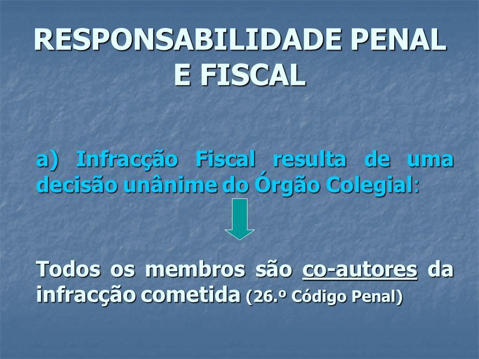 RESPONSABILIDADE PENAL E FISCAL a) Infracção Fiscal resulta de uma decisão unânime do Órgão Colegial: Todos os membros são co-autores da infracção com