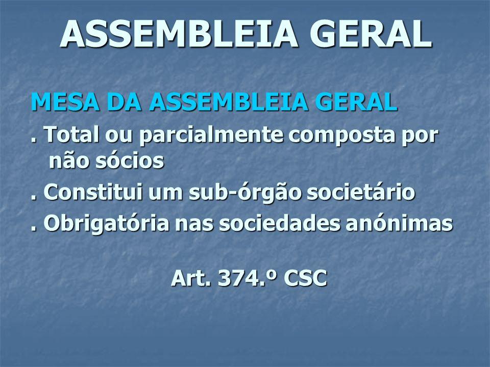 ASSEMBLEIA GERAL MESA DA ASSEMBLEIA GERAL. Total ou parcialmente composta por não sócios. Constitui um sub-órgão societário. Obrigatória nas sociedade