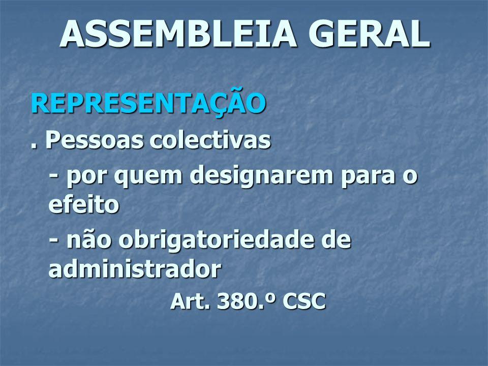 ASSEMBLEIA GERAL REPRESENTAÇÃO. Pessoas colectivas - por quem designarem para o efeito - não obrigatoriedade de administrador Art. 380.º CSC