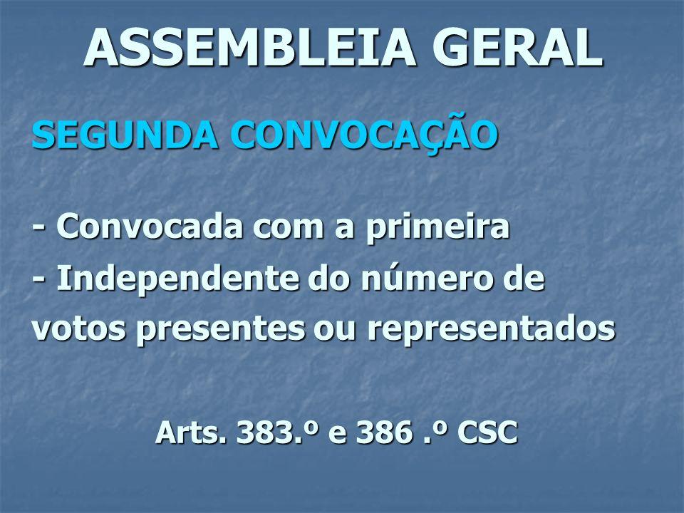 ASSEMBLEIA GERAL SEGUNDA CONVOCAÇÃO - Convocada com a primeira - Independente do número de votos presentes ou representados Arts. 383.º e 386.º CSC