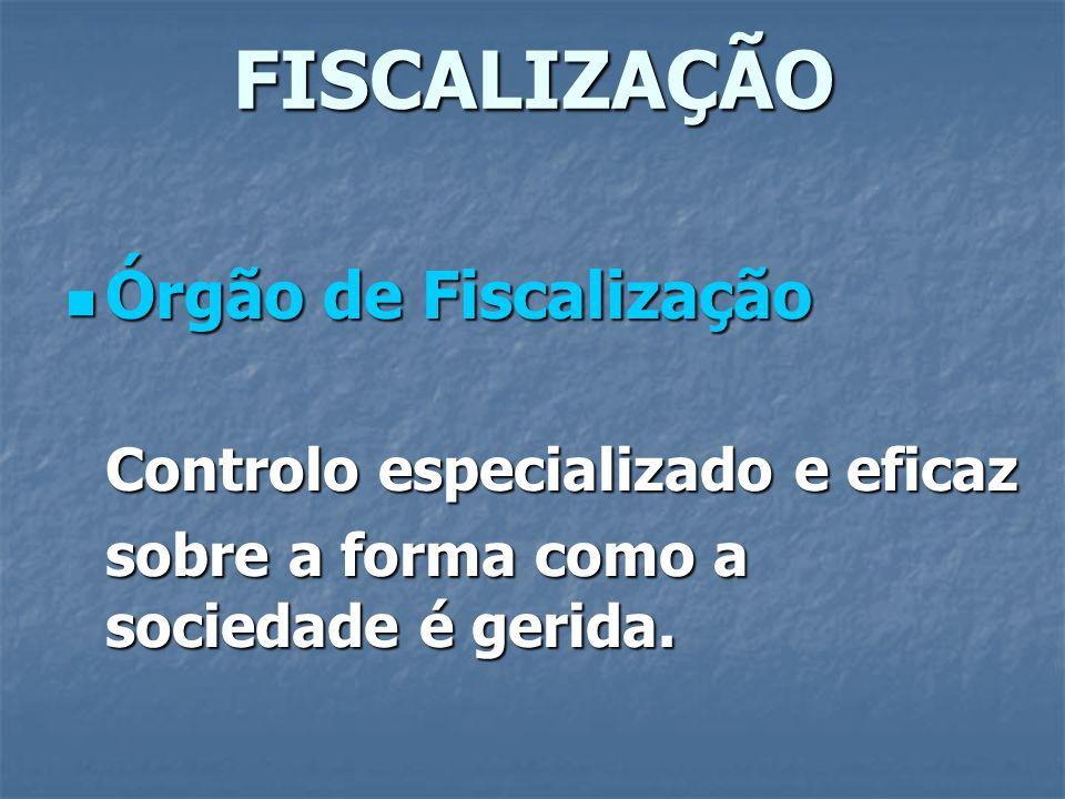 FISCALIZAÇÃO Órgão de Fiscalização Órgão de Fiscalização Controlo especializado e eficaz sobre a forma como a sociedade é gerida.