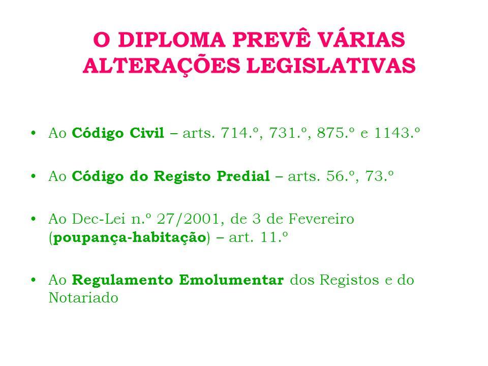 O DIPLOMA PREVÊ VÁRIAS ALTERAÇÕES LEGISLATIVAS Ao Código Civil – arts.