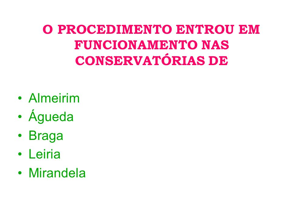 O PROCEDIMENTO ENTROU EM FUNCIONAMENTO NAS CONSERVATÓRIAS DE Almeirim Águeda Braga Leiria Mirandela