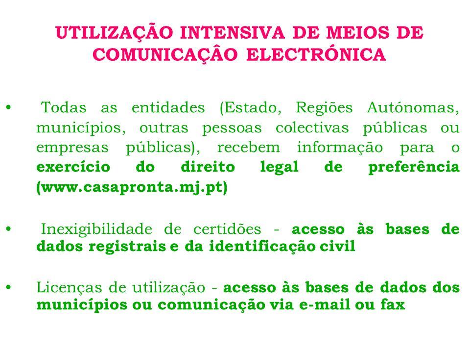 UTILIZAÇÃO INTENSIVA DE MEIOS DE COMUNICAÇÂO ELECTRÓNICA Todas as entidades (Estado, Regiões Autónomas, municípios, outras pessoas colectivas públicas ou empresas públicas), recebem informação para o exercício do direito legal de preferência (www.casapronta.mj.pt) Inexigibilidade de certidões - acesso às bases de dados registrais e da identificação civil Licenças de utilização - acesso às bases de dados dos municípios ou comunicação via e-mail ou fax