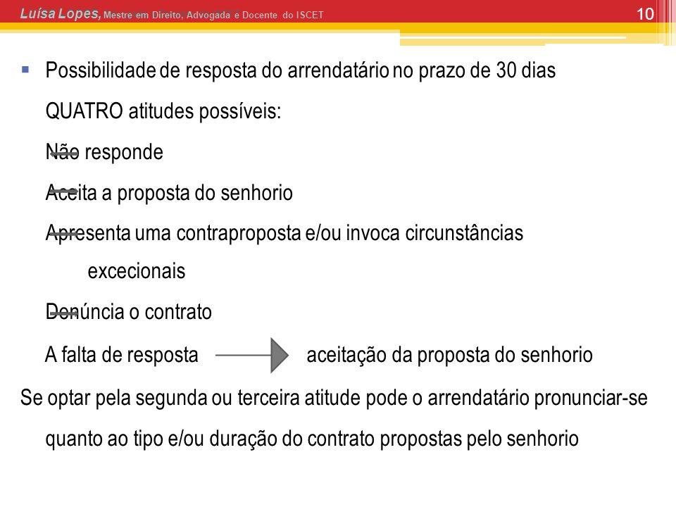 10 Possibilidade de resposta do arrendatário no prazo de 30 dias QUATRO atitudes possíveis: Não responde Aceita a proposta do senhorio Apresenta uma c