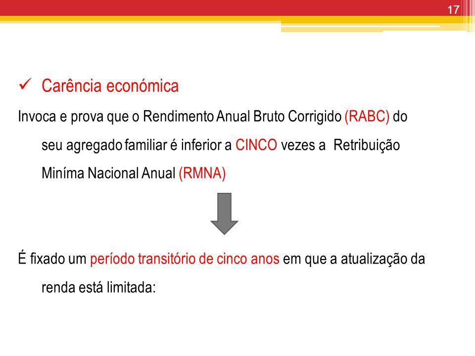 17 Carência económica Invoca e prova que o Rendimento Anual Bruto Corrigido (RABC) do seu agregado familiar é inferior a CINCO vezes a Retribuição Min