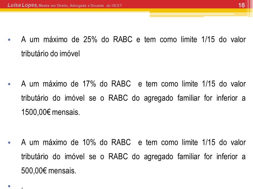 18 A um máximo de 25% do RABC e tem como limite 1/15 do valor tributário do imóvel A um máximo de 17% do RABC e tem como limite 1/15 do valor tributário do imóvel se o RABC do agregado familiar for inferior a 1500,00 mensais.