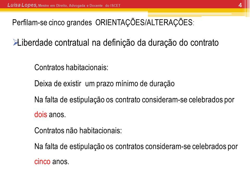 4 Perfilam-se cinco grandes ORIENTAÇÕES/ALTERAÇÕES : Liberdade contratual na definição da duração do contrato Contratos habitacionais: Deixa de existi
