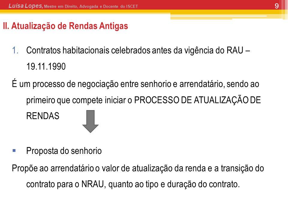 9 II. Atualização de Rendas Antigas 1.Contratos habitacionais celebrados antes da vigência do RAU – 19.11.1990 É um processo de negociação entre senho